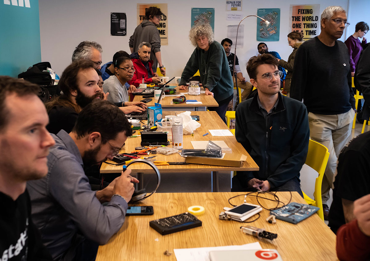 A group of people at a Restart Party